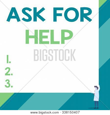 Handwriting text Ask For Help. Concept meaning Request to support assistance needed Professional advice Front view young woman holding two hands right corner big blank rectangle. stock photo