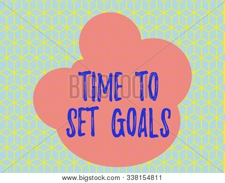 Word writing text Time To Set Goals. Business concept for Desired Objective Wanted to accomplish in the future Seamless Yellow Blocks Cubes Blue Background Perspective Depth Deepness. stock photo