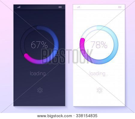 Icons of modern 3D web preloader of updates. Progress bar with percentage of progress. Concept of mobile apps, progress of loading on light and dark background. Radial load upgrade download diagram stock photo