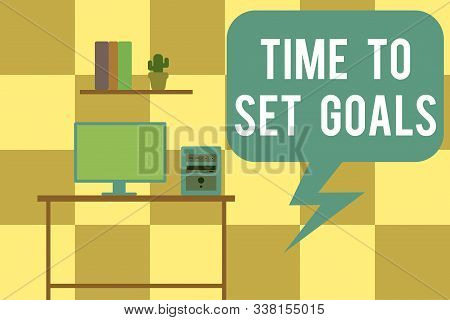 Handwriting text writing Time To Set Goals. Concept meaning Desired Objective Wanted to accomplish in the future Desktop computer wooden table background shelf books flower pot ornaments. stock photo