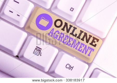 Conceptual hand writing showing Online Agreement. Business photo text contract modelled signed and executed electronically. stock photo