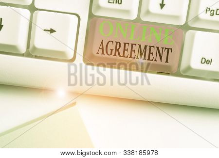 Word writing text Online Agreement. Business concept for contract modelled signed and executed electronically. stock photo