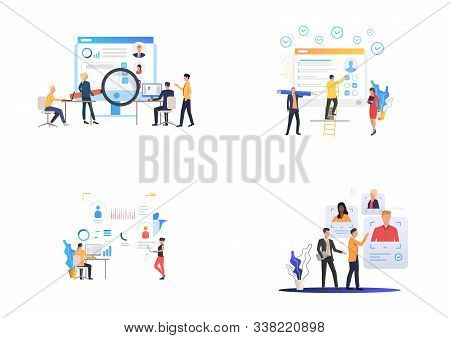 Recruiting agency set. HR professionals analyzing candidates profiles. Flat vector illustrations. Business, employment, career concept for banner, website design or landing webpage stock photo