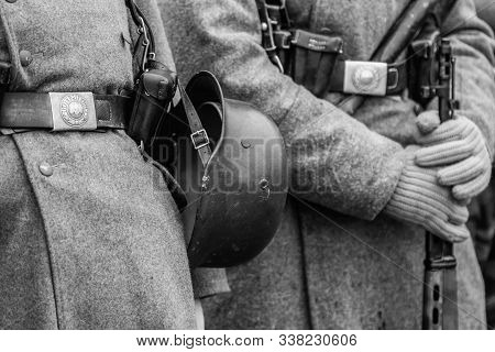 Wehrmacht soldier helmet germany second world black and white shot stock photo