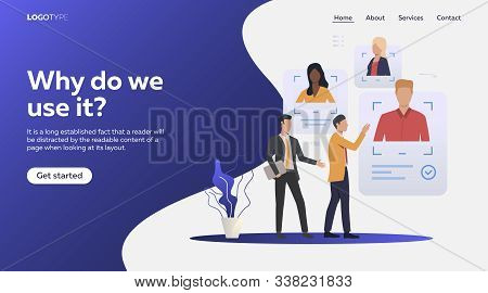 Employers selecting job candidates. Online CV, avatar, recruit agents flat vector illustration. Human resource concept for banner, website design or landing web page stock photo