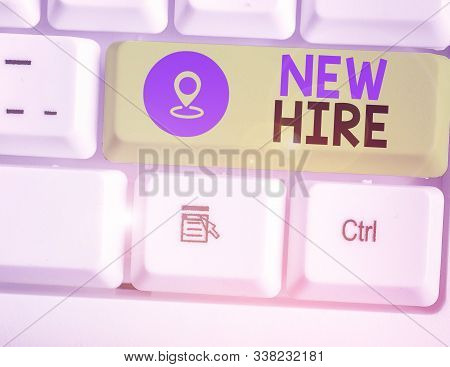 Handwriting text writing New Hire. Concept meaning someone who has not previously been employed by the organization. stock photo
