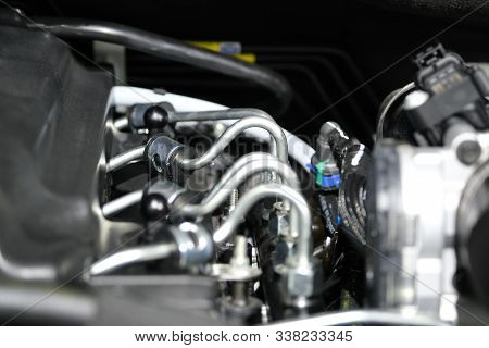 The powerful engine of a car. Internal design of engine. Car engine part. Modern powerful car engine. stock photo
