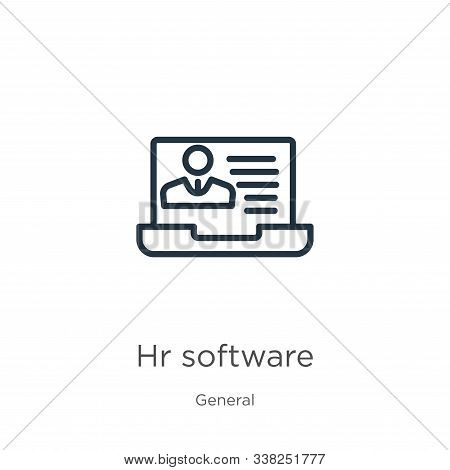 Hr software icon. Thin linear hr software outline icon isolated on white background from general collection. Line vector hr software sign, symbol for web and mobile stock photo