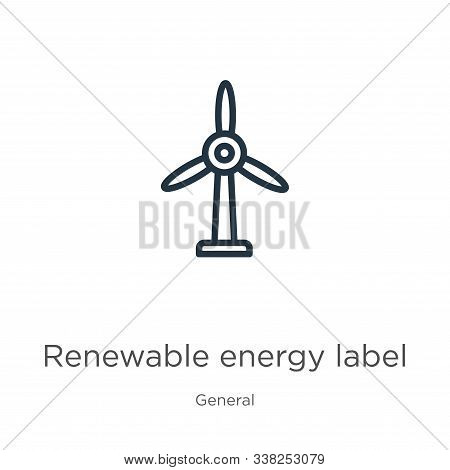 Renewable energy label icon. Thin linear renewable energy label outline icon isolated on white background from general collection. Line vector renewable energy label sign, symbol for web and mobile stock photo