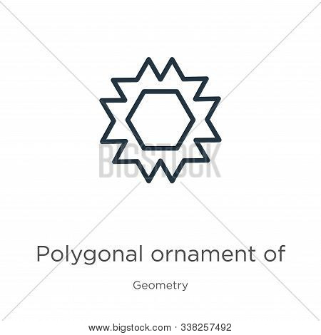 Polygonal ornament of hexagons and triangles icon. Thin linear polygonal ornament of hexagons and triangles outline icon isolated on white background from geometry collection. Line vector polygonal stock photo