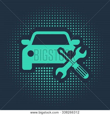 Green Car with screwdriver and wrench icon isolated on blue background. Adjusting, service, setting, maintenance, repair, fixing. Abstract circle random dots. Vector Illustration stock photo