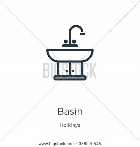 Basin icon. Thin linear basin outline icon isolated on white background from holidays collection. Line vector basin sign, symbol for web and mobile stock photo