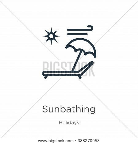 Sunbathing icon. Thin linear sunbathing outline icon isolated on white background from holidays collection. Line vector sunbathing sign, symbol for web and mobile stock photo