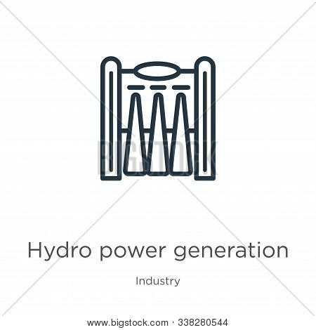 Hydro power generation icon. Thin linear hydro power generation outline icon isolated on white background from industry collection. Line vector hydro power generation sign, symbol for web and mobile stock photo