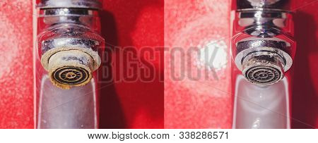 Water tap in detail with limescale close up soiled bathroom Calcified faucet. repairs faucet aerator cleaning with steam cleaner before and after the procedure stock photo