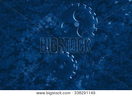 Abstract mechanism elements on grass background toned classic blue trend color 2020 stock photo