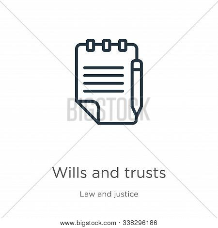 Wills and trusts icon. Thin linear wills and trusts outline icon isolated on white background from law and justice collection. Line vector wills and trusts sign, symbol for web and mobile stock photo