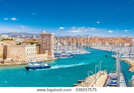 Saint Jean Castle and Cathedral de la Major and the Vieux port in Marseille, France stock photo