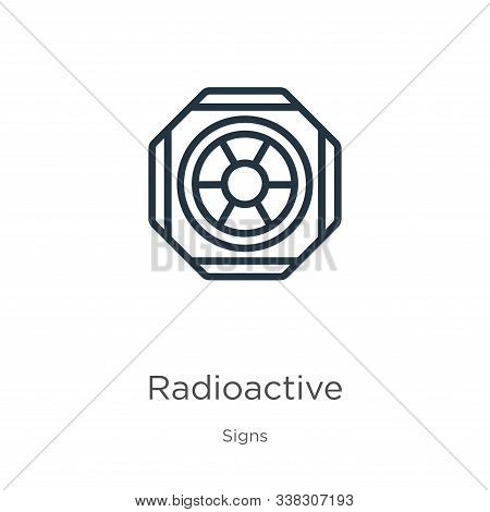 Radioactive symbol icon. Thin linear radioactive symbol outline icon isolated on white background from signs collection. Line vector radioactive symbol sign, symbol for web and mobile stock photo