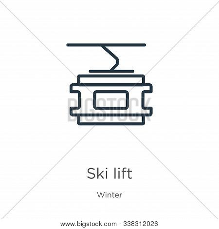 Ski lift icon. Thin linear ski lift outline icon isolated on white background from winter collection. Line vector ski lift sign, symbol for web and mobile stock photo