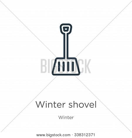 Winter shovel icon. Thin linear winter shovel outline icon isolated on white background from winter collection. Line vector winter shovel sign, symbol for web and mobile stock photo