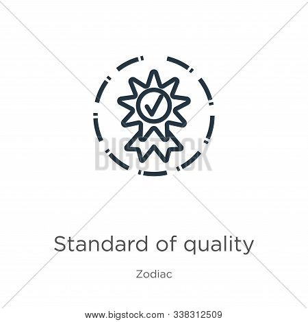 Standard of quality icon. Thin linear standard of quality outline icon isolated on white background from zodiac collection. Line vector standard of quality sign, symbol for web and mobile stock photo