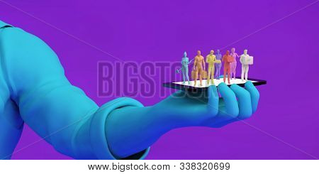 Gig Economy Workers Joining the Online Workforce 3D Illustration Render stock photo