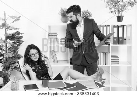 Stress at work. Girl boss. Lazy sexy secretary indifferent. Manager man business report unhappy results. Keep calm. Stress resistance concept. Inability to rest relax or let down. Office stress. stock photo