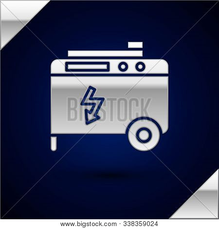 Silver Portable power electric generator icon isolated on dark blue background. Industrial and home immovable power generator. Vector Illustration stock photo