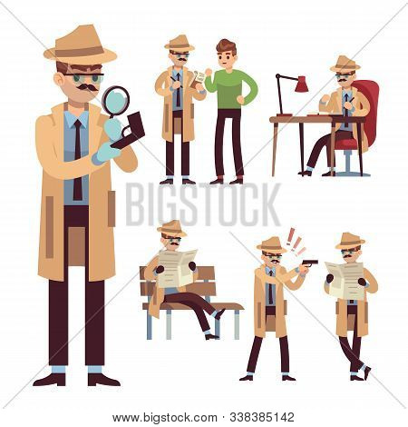 Police detective set. Inspector or investigator in hat with spying equipment and newspaper search vector investigation character concept stock photo