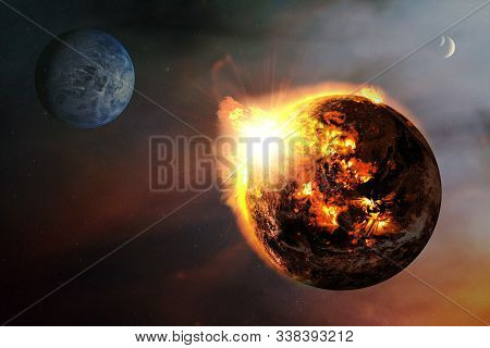 Apocalyptic abstract background with a burning planet . Elements of this image furnished by NASA. stock photo