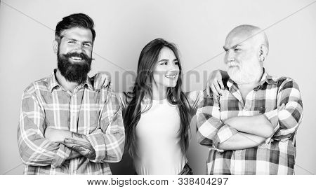 Men and female threesome. Girl pretty adorable woman prefer more experienced partner. Relations group people. Choosing life partner. Senior mature bearded men competitors. She likes mature partner stock photo