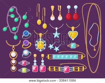 Jewelry items. Beauty woman accessories shop glamour diamonds golden bracelets gems precious pendants jewelry vector collection. Illustration jewelry expensive, luxury bracelet and gem stock photo