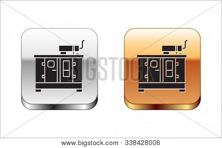 Black Diesel power generator icon isolated on white background. Industrial and home immovable power generator. Silver-gold square button. Vector Illustration stock photo