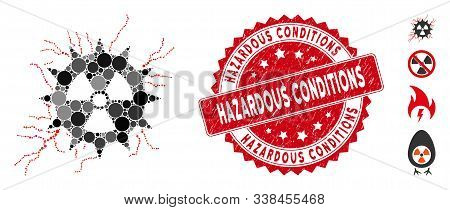 Mosaic atomic power sparks icon and grunge stamp seal with Hazardous Conditions text. Mosaic vector is designed with atomic power sparks pictogram and with randomized round elements. stock photo