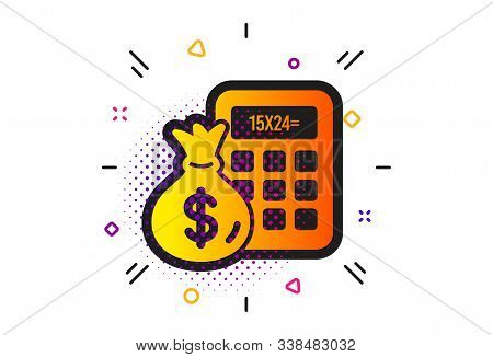Accounting sign. Halftone circles pattern. Calculator with money bag icon. Calculate finance symbol. Classic flat finance Calculator icon. Vector stock photo