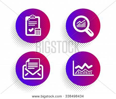 Mail correspondence, Data analysis and Accounting checklist icons simple set. Halftone dots button. Trade infochart sign. E-mail newsletter, Magnifying glass, Calculator. Business analysis. Vector stock photo