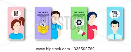 Time management, Usb flash and Accounting checklist icons simple set. People on phone screen. Approved agreement sign. Settings, Memory stick, Calculator. Verified document. Business set. Vector stock photo