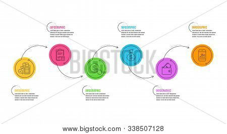 Accounting checklist, Bill accounting and Smartphone statistics signs. Infographics timeline. Buy currency, Money bag and Wallet line icons set. Money exchange, Usd currency, Usd cash. Vector stock photo