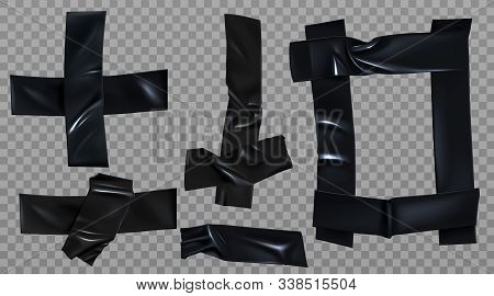 Black duct tape set. Insulating adhesive stripe, square and cross shape, glued sticky scotch pieces for fix, repair or packaging isolated on transparent background Realistic 3d vector illustration stock photo