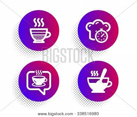 Cafe creme, Cooking timer and Coffee icons simple set. Halftone dots button. Tea cup sign. Hot coffee, Stopwatch, Cafe. Food and drink set. Classic flat cafe creme icon. Vector stock photo