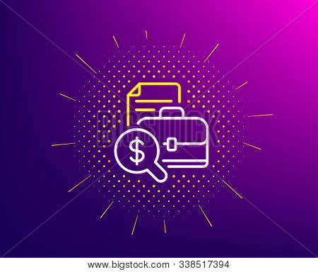 Accounting report line icon. Halftone pattern. Audit sign. Check finance symbol. Gradient background. Accounting report line icon. Yellow halftone pattern. Vector stock photo
