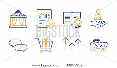 Diploma, Dots message and Circus tent line icons set. Recruitment, Swipe up and Checked calculation signs. Shopping cart, Tractor symbols. Document with badge, Chat bubble. Business set. Vector stock photo