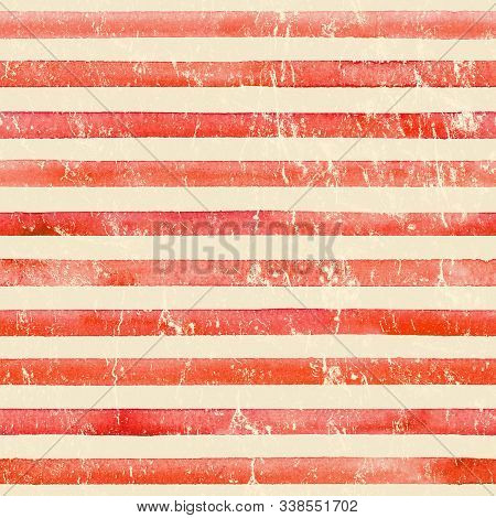 Vintage paper. Watercolor stripe seamless pattern. Red stripes background. Watercolour hand drawn striped old grunge texture. Print for cloth design, textile, fabric, wallpaper, wrapping. stock photo