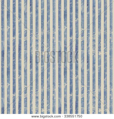 Vintage paper. Watercolor stripe seamless pattern. Blue stripes background. Watercolour hand drawn striped old grunge texture. Print for cloth design, textile, fabric, wallpaper, wrapping. stock photo