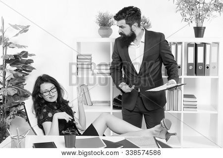 Keep calm. Stress resistance. Inability to rest relax or let down. Office stress. Negligence concept. Stress at work. Lazy sexy girl secretary indifferent. Manager man business report unhappy results. stock photo