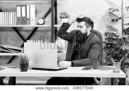 Forgot password. Man bearded boss manager sit office with laptop. Manager solving business problems online. Business man failed. Risky business. Broker and financial indicators. Falling stock prices. stock photo
