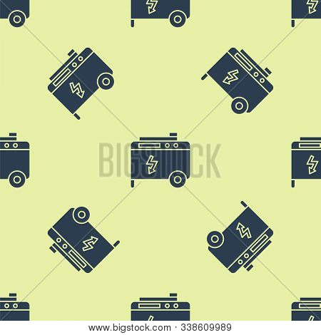 Blue Portable power electric generator icon isolated seamless pattern on yellow background. Industrial and home immovable power generator. Vector Illustration stock photo