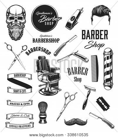 Barber shop vintage vector icons, barbershop mustaches and beard shave salon symbols. Barber equipment tools, scissors and hipster skull, razors, shaving brush and hair dryer, chair and pole signage stock photo