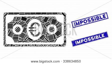 Mosaic Euro banknote icon and rectangle Impossible seal stamps. Flat vector Euro banknote mosaic icon of random rotated rectangle items. Blue Impossible seal stamps with distress surface. stock photo